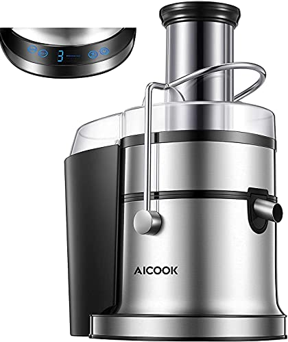 AICOOK Entsafter Gemüse und Obst, 800W Zentrifugaler Entsafter mit 5 Einstellungen(LCD Display), Entsafter...