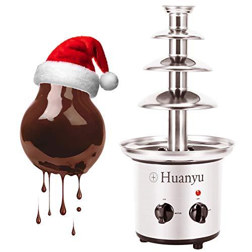Huanyu Schokofondue 4 Ebenen Edelstahl Schokobrunnen 50~60°C Warmhalte Schokolade Schmelzmaschine mit 1360 g...