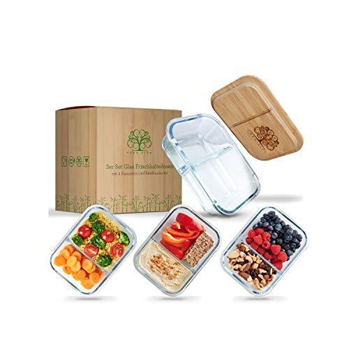 Pura Vida - Glas Frischhaltedosen - 3 große Meal Prep Boxen mit 2 Kammern zur getrennten Aufbewahrung von...