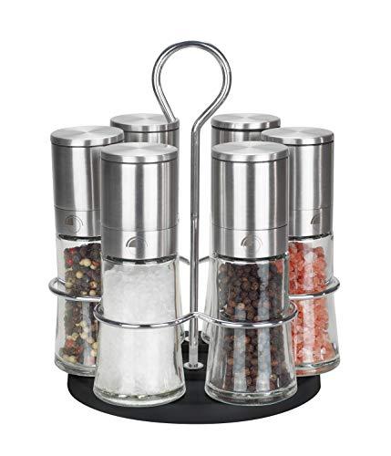 Pfeffermühle Salzmühle 6er Set mit drehbarem Ständer - Echtglas - Keramikmahlwerk - Edelstahl - Gastro Set...