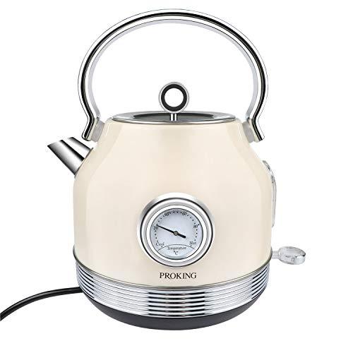 Wasserkocher Edelstahl, Wasserkocher Retro 2200 W 1,7L, Temperaturanzeige, BPA frei, Wasserkocher Kabelloser...