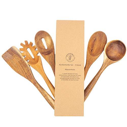PREMIUM Küchenutensilien Set - 5-teilig aus hochwertigem Akazienholz, keine Kratzer mehr, Hitzebeständig,...