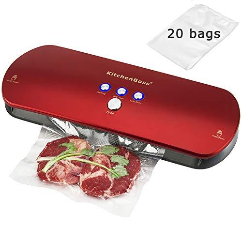 KitchenBoss 3-in-1 Vakuumiergerät für Trockene und Feuchte Lebensmitteln, Automatisch/Manuelles...