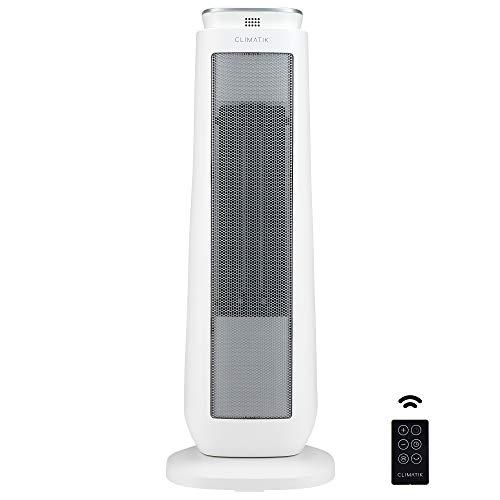 Climatik - Oszillierender Turm-Heizlüfter - PTC-Keramik - Thermostat, 2 Leistungsstufen, LED-Anzeige -...