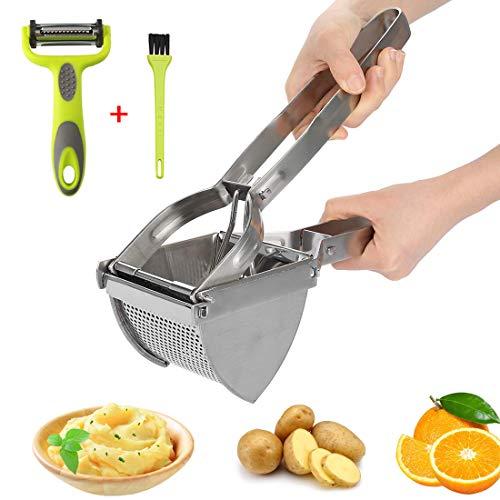 HOTLIKE Kartoffelpresse aus Edelstahl, Spätzlepresse 3 PCS Set, Professionelle Spätzlechef mit Pinsel,...