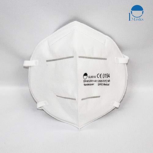 Hochwertige Atemschutzmasken der Klasse FFP2 NR in luftdichter Einzelverpackung, Particle Filtering Half Masks...
