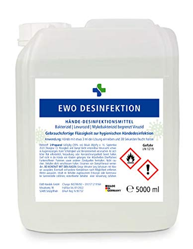 Ewo 5L Kanister Desinfektionsmittel für Hände zur hygienischen Händedesinfektion gem. WHO - begr. viruzid...
