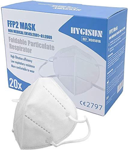 20x FFP2 Maske KN95 DEKRA geprüfte DECADE Mundschutz Einweg Atemmaske, Mund Nasenschutz Mundschutz Maske...