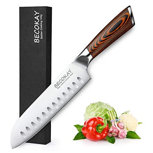 Santoku Messer Kochmesser Küchenmesser, 18cm Kochmesser Hochwertiges Küchenmesser aus Deutschem Edelstahl...