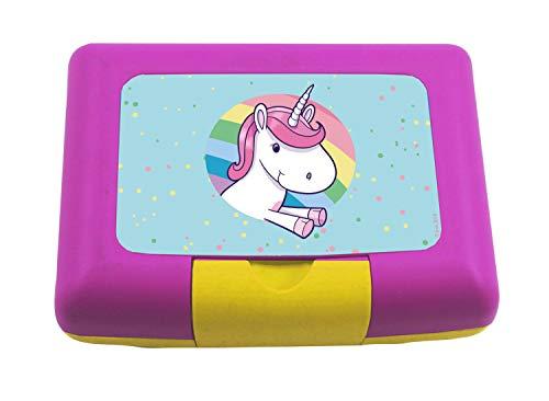 P:os 30762 - Brotdose für Mädchen mit Trenner im farbenfrohen Einhorn Design, ca. 17 x 12,5 x 6,5 cm groß,...