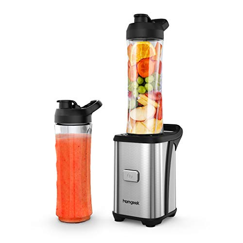 Mixer Smoothie Maker, homgeek Mini Blender mit 2x 600ml Tritan-Kunststoff Flaschen, Tragbar Standmixer für...