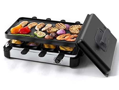 Muchen Raclette Grill für 8 Personen, BBQ Party grill zum Kochen von Käse, Rauchfreier Tischgrill inkl....