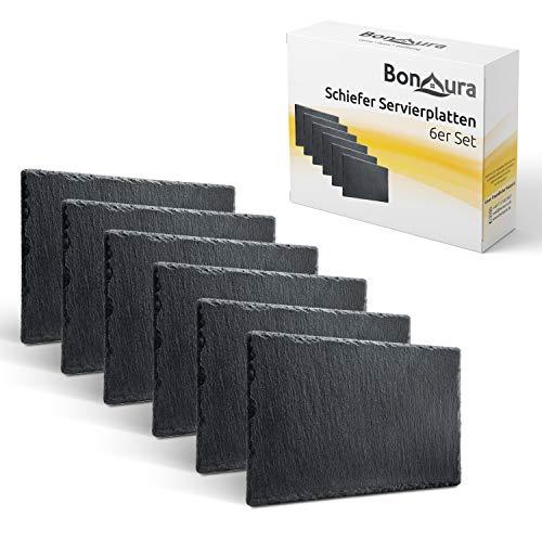 BonAura® Schieferplatten - Schiefer Tischuntersetzer Servierplatten zum Anrichten & Dekorieren von Gerichten...