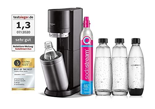 SodaStream Wassersprudler DUO mit CO2-Zylinder, 2x 1L Glasflasche und 2x 1L spülmaschinenfeste...