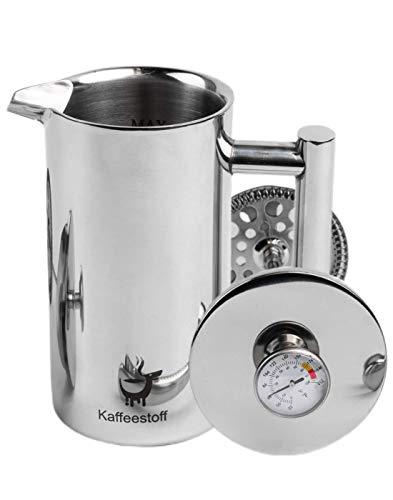 Kaffeestoff Kaffeebereiter mit Thermometer | French Press aus Edelstahl für 3 Tassen 0,6 l doppelwandig...