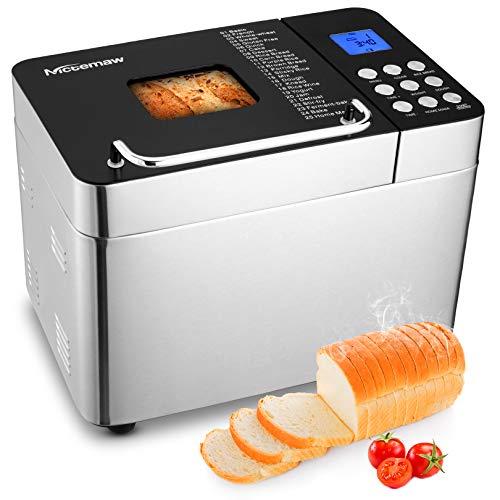Nictemaw Brotbackautomat Edelstahl, Brotbackmaschine 600W mit 25 Backprogramme, 3 Brotgrößen und 3...