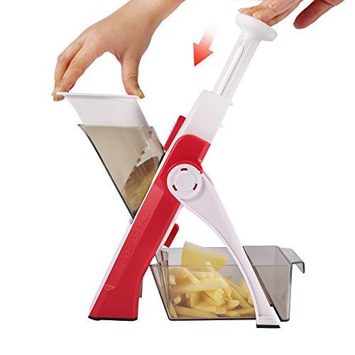 ONCE FOR ALL Gemüseschneider mit Auffangbecken, Gemüsehobel ideal als Pommesschneider & Kartoffelschneider,...