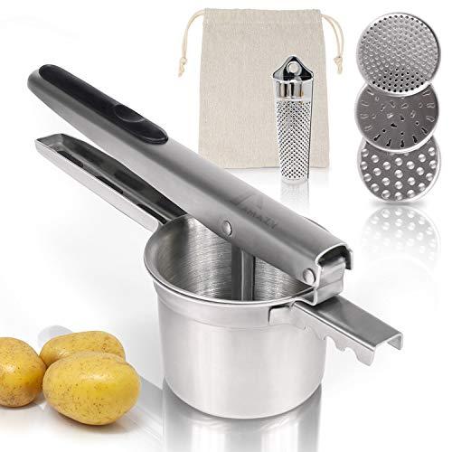 Amazy Kartoffelpresse inkl. 3 Siebeinsätze, Muskatreibe und Kartoffelsack – Spülmaschinenfeste Presse aus...