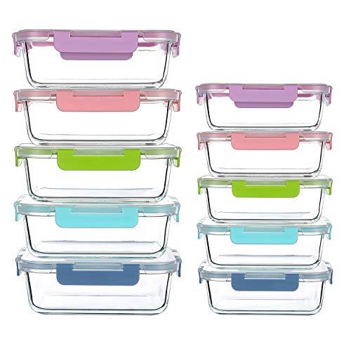 CREST 10-er Set Glas Frischhaltedosen, Meal Prep Boxen mit Deckel, Glasbehälter, BPA-frei, perfekt für Meal...