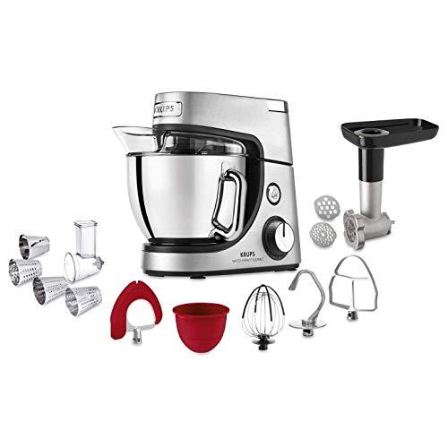 Krups KA631D Küchenmaschine Master Perfect Gourmet; 1100 Watt; 8 Geschwindigkeiten; 4,6L Edelstahlschüssel;...