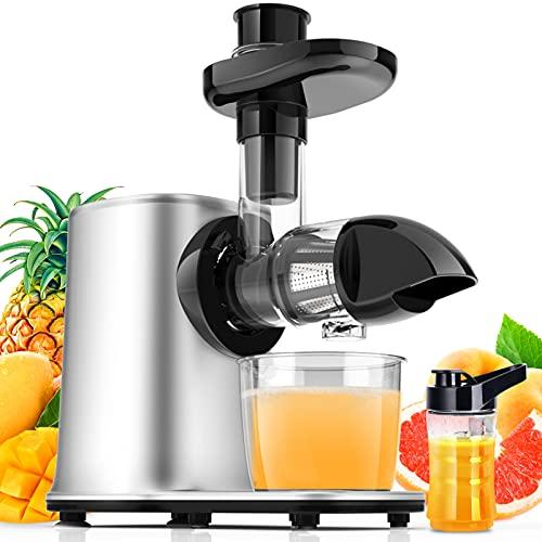 Slow Juicer Entsafter Gemüse und Obst mit 2 Geschwindigkeit & Umkehrfunktion & Saftkanne & Reinigungsbürste...