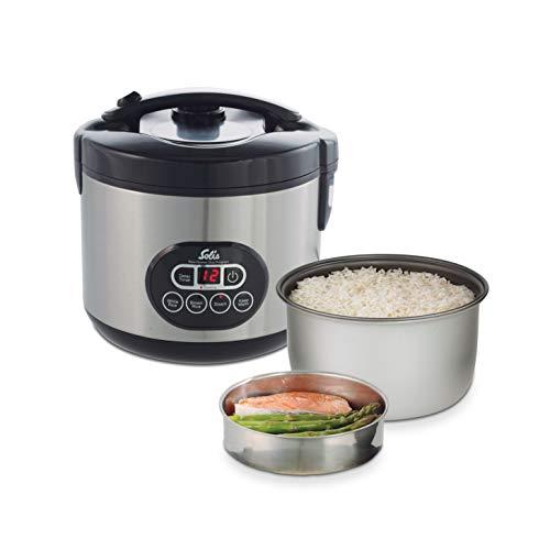 Solis Reiskocher und Dampfgarer, Weißer/brauner Reis, Timer und Warmhaltefunktion, 6 Tassen Reis, 1,2 Liter,...