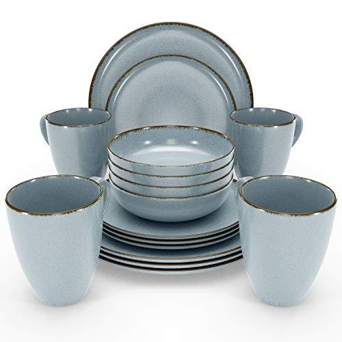 Essgeschirr 4 Personen Set - 16-teiliges Geschirrset im Trendy Rustikalen Design in Blau -...