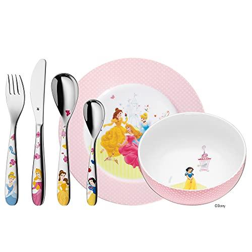 WMF Disney Princess Kinder Geschirrset 6-teilig, Kindergeschirr mit Kinderbesteck Edelstahl, ab 3 Jahre,...