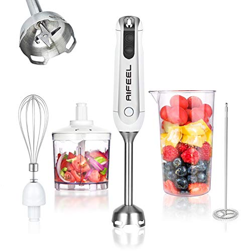 Aifeel Stabmixer 5-in-1 Set, 800W Anti-Splash pürierstab mit 500 ml Food Chopper, 600 ml Becher, Schneebesen,...