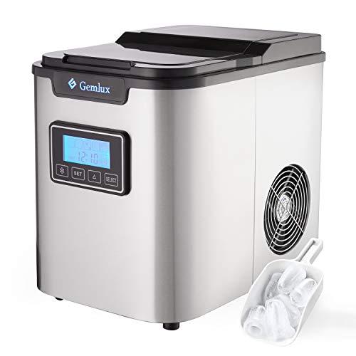 Gemlux Eiswürfelmaschine Edelstahl, Tragbar Eismaschine für Zuhause und Bar, 2.2L, 12kg/24h, 3 Eiswürfel...