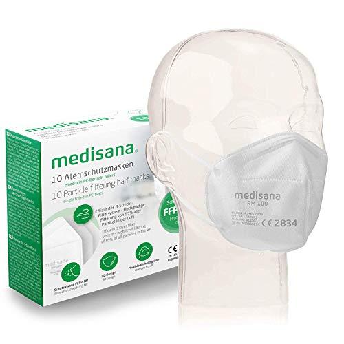 Medisana FFP2/KN95 10x Atemschutzmasken Staubmaske RM 100 Atemmaske 3-lagige Staubschutzmaske Mundschutzmaske...