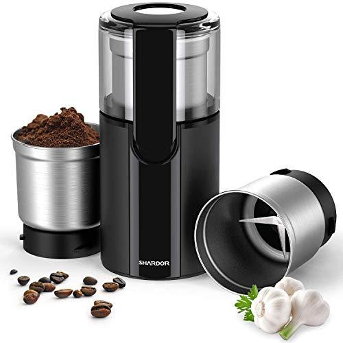 SHARDOR Kaffeemühle Elektrisch Gewürzmühle mit 2 Abnehmbare 70g Edelstahlbehälter für Kaffeebohnen Nüsse...