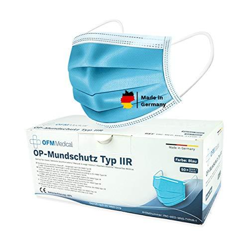 P.A.C. OFM Medical OP-Mundschutz Typ IIR 50 Stück, CE Zertifiziert, Atemschutz Maske, OP Mundschutz, Mund...