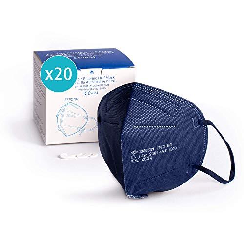 20x Atemschutzmaske FFP2, dunkelblau, Maske ≥95% EU CE zertifiziert 2834 einzelverpackt im PE-Beutel