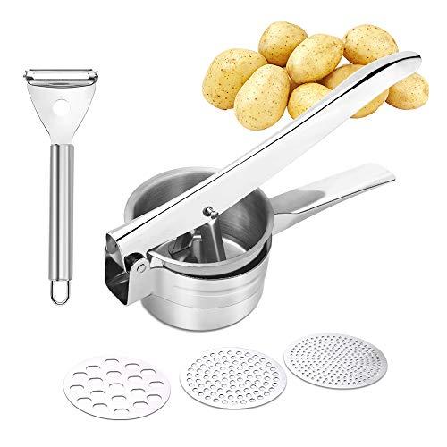 Uponer Kartoffelpresse aus Edelstahl Spätzlepresse Gourmet Multipresse mit 3 Lochscheiben Obst und Gemüse...