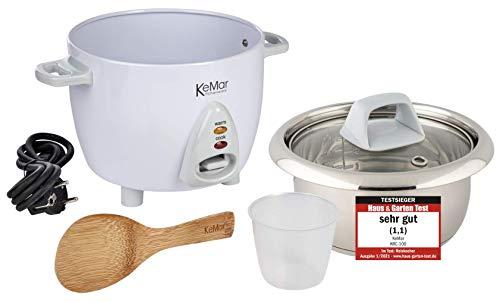 KeMar Kitchenware KRC-100 Reiskocher Edelstahltopf | Kompakt (0,6L, 300W, Weiß) | Glasdeckel | BPA-frei |...
