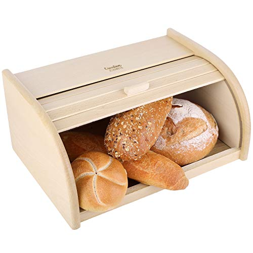 Creative Home Roll-Brotkasten aus Buchen-Holz   40 x 27,5 x 18,5 cm   Perfekte Brot-Box für Brot, Brötchen...
