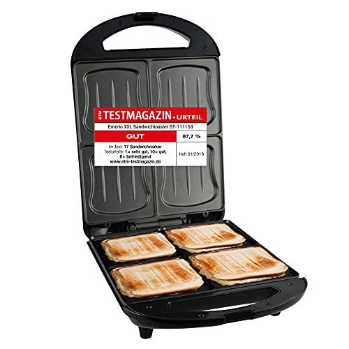 Emerio XXL Sandwich Toaster, für alle Toastgrößen geeignet, 4x große Muschelform, kein Auslaufen, kein...