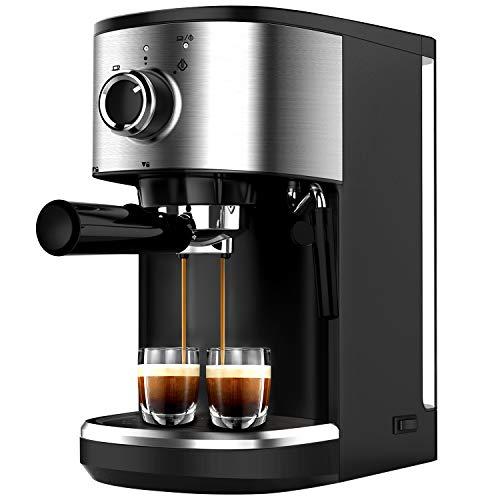 Bonsenkitchen Espressomaschine mit Siebträger, 1450W Hohe Leistung Edelstahl Kaffeemaschine, 15 Bar...