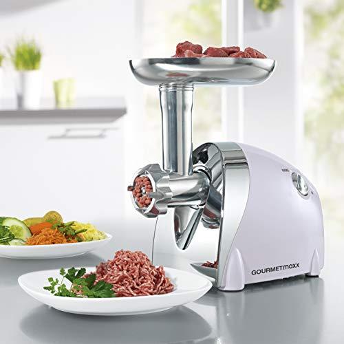 GOURMETmaxx elektrischer Fleischwolf inklusive Gebäckaufsatz  Kraftvoller 3 in 1 Küchenprofi für Fleisch,...