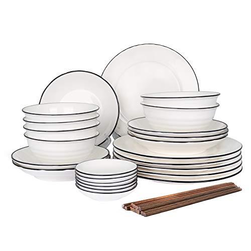 CSYY 30 teilig Set Tafelservice,Teller-Set aus Porzellan, Geschirr-Service für 6 Personen, Runde Geschirrset...