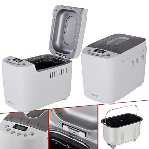 AREBOS Brotbackautomat 1500g   mit 15 Programmen   2 Knethaken   Timer   LCD Display   3 Bräunungsgrade und...