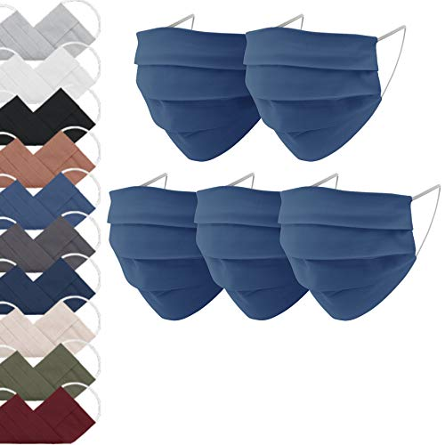 EllaTex 5er Pack Mund-Nasenschutz Masken/Atemschutz Maske Behelfsmaske Baumwolle WASCHBAR WIEDERVERWENDBAR in...
