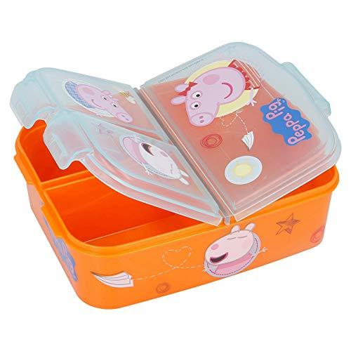 Peppa Wutz Brotdose mit 3 Fächern, Kids Lunchbox,Bento Brotbox für Kinder - ideal für Schule, Kindergarten...