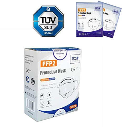 10 Stück FFP2 Maske von FEILIKANG CE Zertifikat + TÜV-SÜD Herstellergeprüft einzeln verpackt Mund...