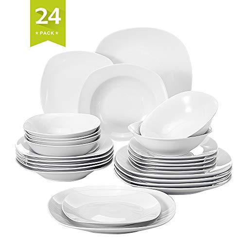 MALACASA, Serie Elisa, 24 teilig Set Porzellan Tafelservice Kombiservice Geschirrset mit je 6 Speiseteller, 6...