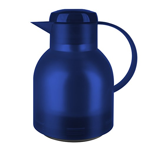 Emsa 504231 Samba Isolierkanne (1 Liter, Quick Press Verschluss, 12h heiß, 24h kalt) blau transluzent