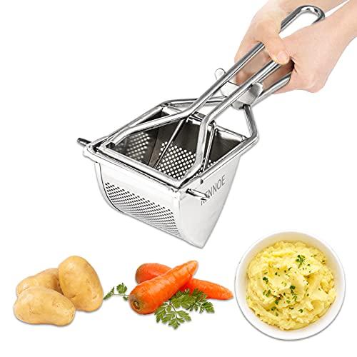 KENNOE Kartoffelpresse Edelstahl Kartoffelstampfer Professionelle Kartoffelquetsche Erdäpfelpresse für...