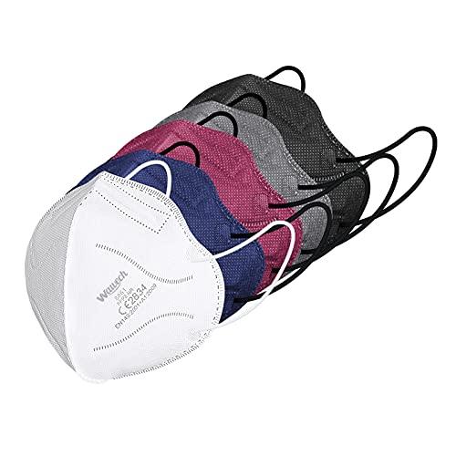 Wawech 20 bunte FFP2 Maske, 5 farbige Mund und Nasenschutz einweg Atemschutzmaske einzelverpackt...