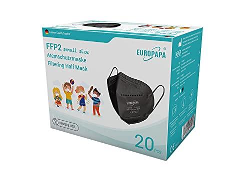 EUROPAPA 20x FFP2 Maske S in Kleiner Größe Mundschutz Masken Atemschutzmasken 5-lagig hygienisch...